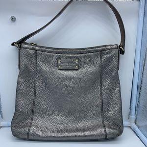 KATE SPADE shiny silver leather tote or handbag